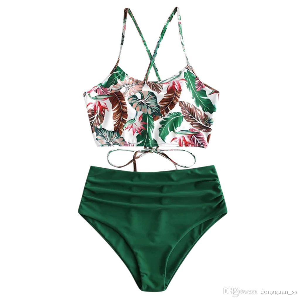 2020 المرأة مثير بيكيني مجموعة Tankini أنثى ملابس السباحة ملابس السباحة فصل اثنين من قطعة مجموعة البرازيلي ثوب السباحة
