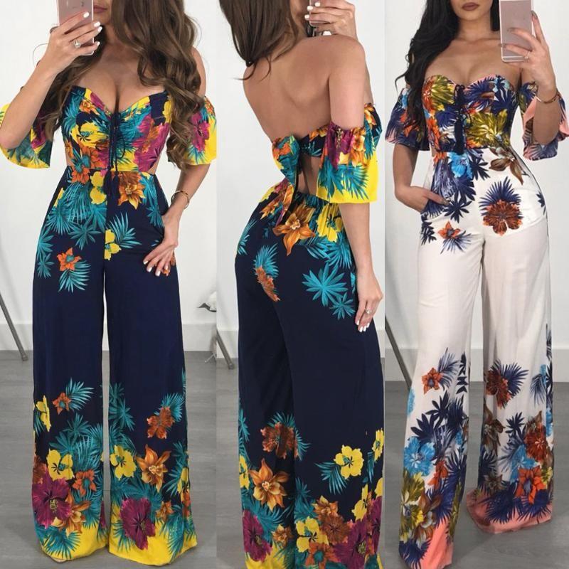 Mulheres Verão Macacão Alças Backless Bandage Floral One Piece Pant Long Clubwear do partido Jumpsuit