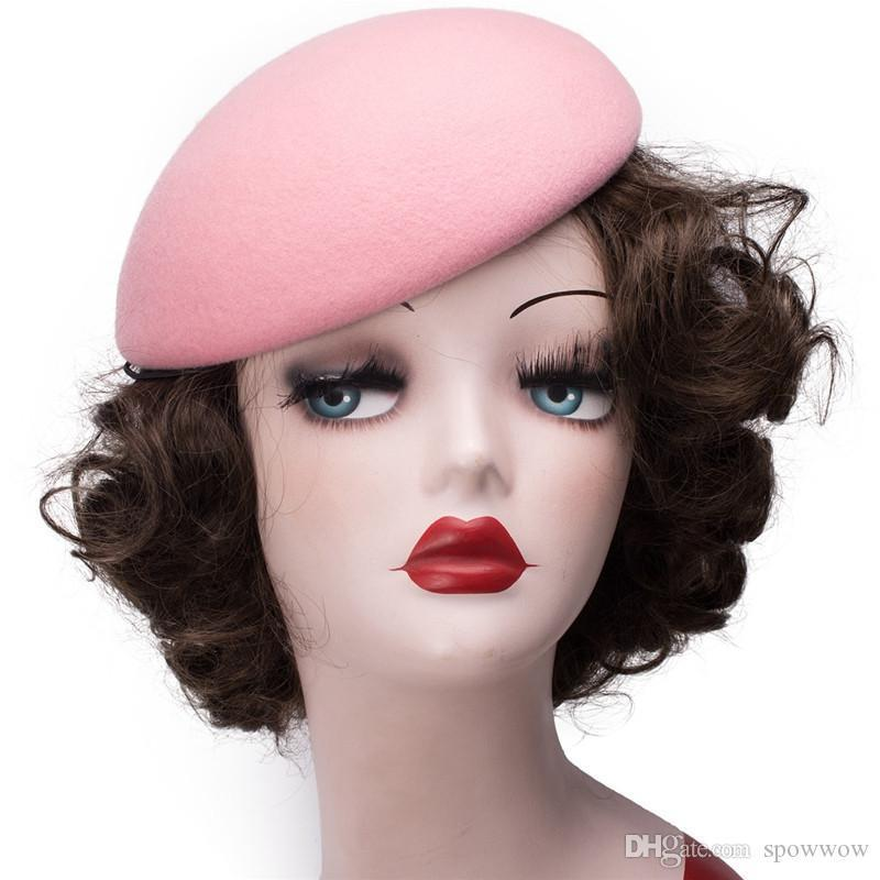 Pure Color Circle Wool Felt Pillbox Hat Millinery Teardrop Fascinator Base Fasten Way Rope Comb Cocktail Party A048