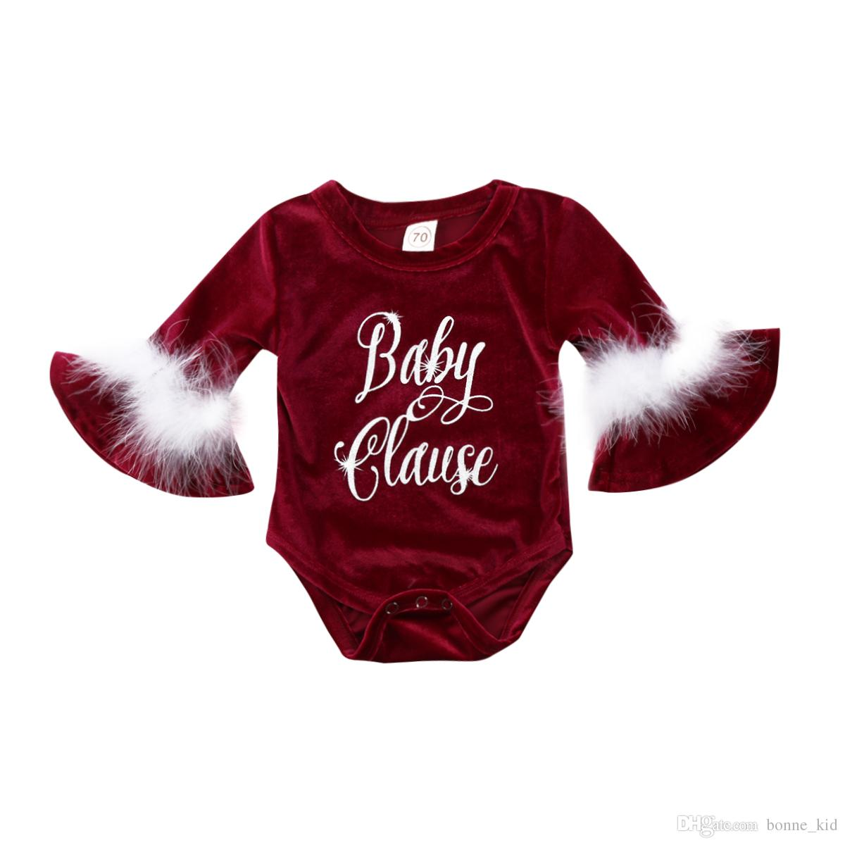 Newborn Baby Girl Velvet Red Romper Casual Kids Girls Feather Decoration Horn Sleeve Romper Jumpsuit Outfits Christmas Clothes 0-24M
