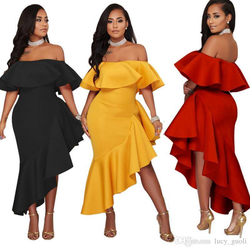 Off Shoulder Ruffle Wrap Bodycon Dress New Arrival Robe Night Party Beach Dress Asymmetrical Women Sexy Club Dresse Casual Clothes