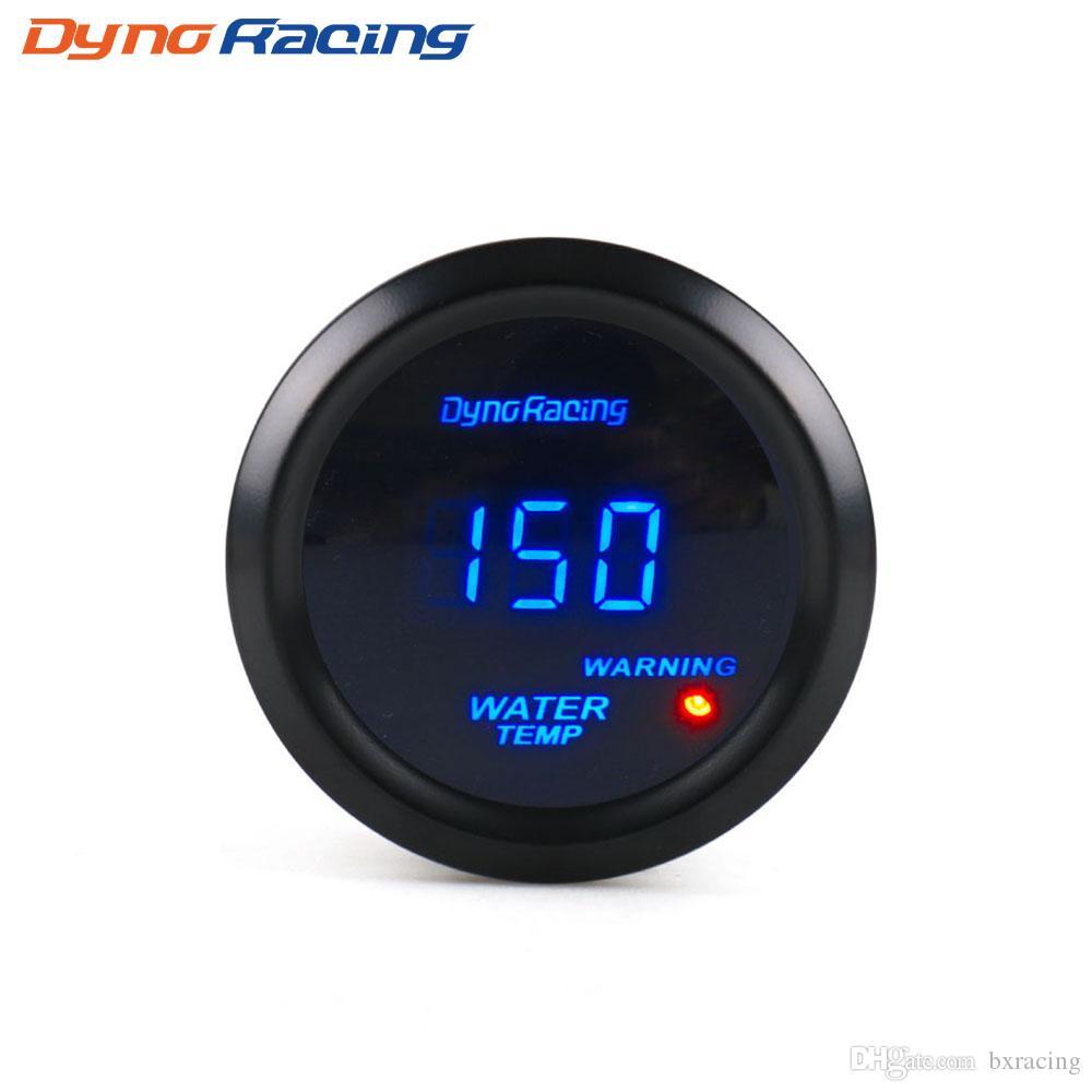 """Dynoracing Su Sıcaklığı Ölçer 2 """"52mm Dijital Su Sıcaklık Ölçer Mavi SENSÖR BX101462 ile Mavi LED Araba Göstergesi Araba Ölçer"""