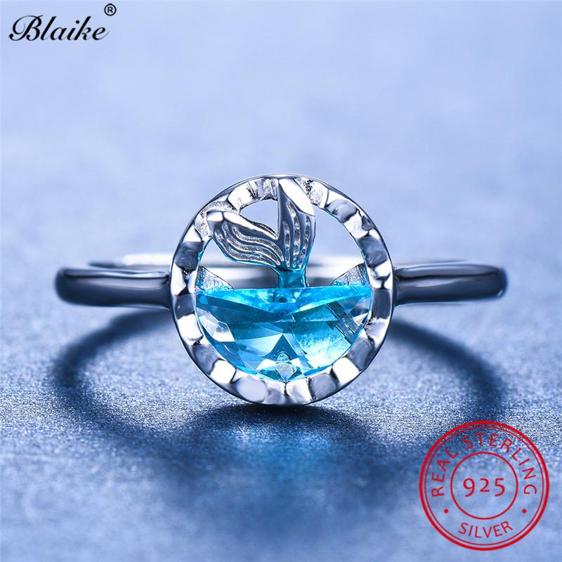 Blaike Solid s925 Sterling Silver Mermaid Rings For Women Aquamarine Crystal Engagement Ring Cute Fairy Charm Wedding Bands