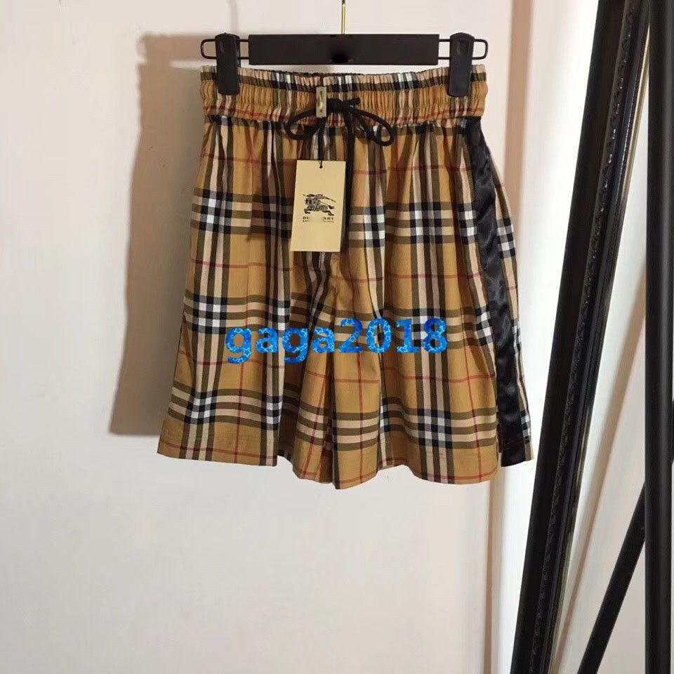 women girls vintage check drawstring shorts pants plaid striped print jogging loose short skirt mini pant high-end fashion luxury dress