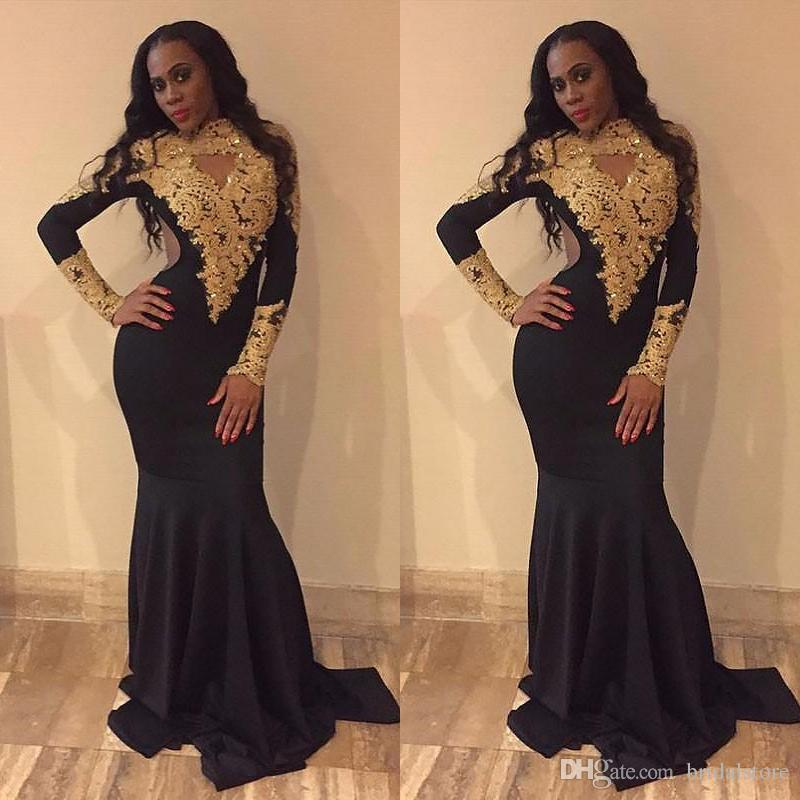 New Arrival Black Tight Prom Dresses Keyhole Front Gold Appliques Lace Long Sleeves Mermaid Evening Gowns Elegant south african 2019 Prom