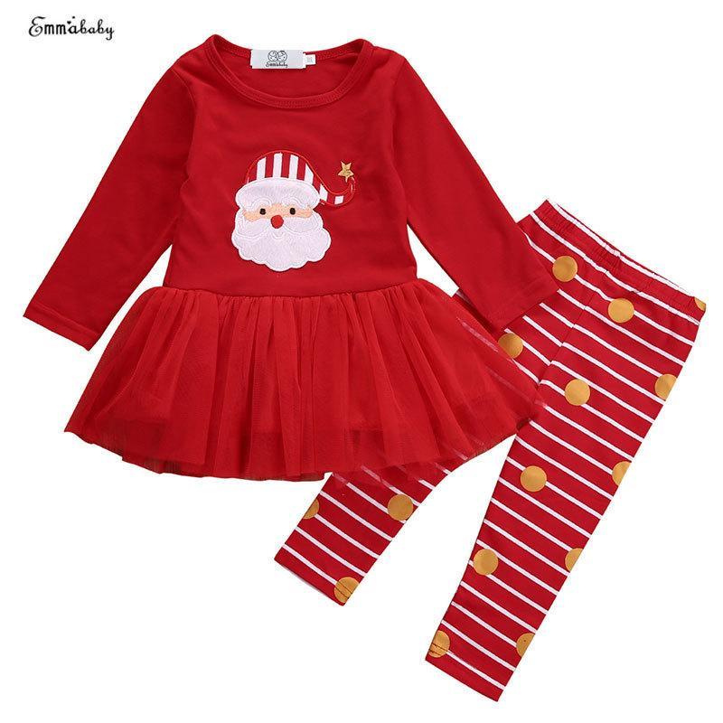 2018 Yenidoğan Bebek Bebek Kız Noel Giysileri Set Uzun Kollu Etek + Çizgili Pantolon Noel Çocuklar Kız Giysileri 0-36 M Y190515