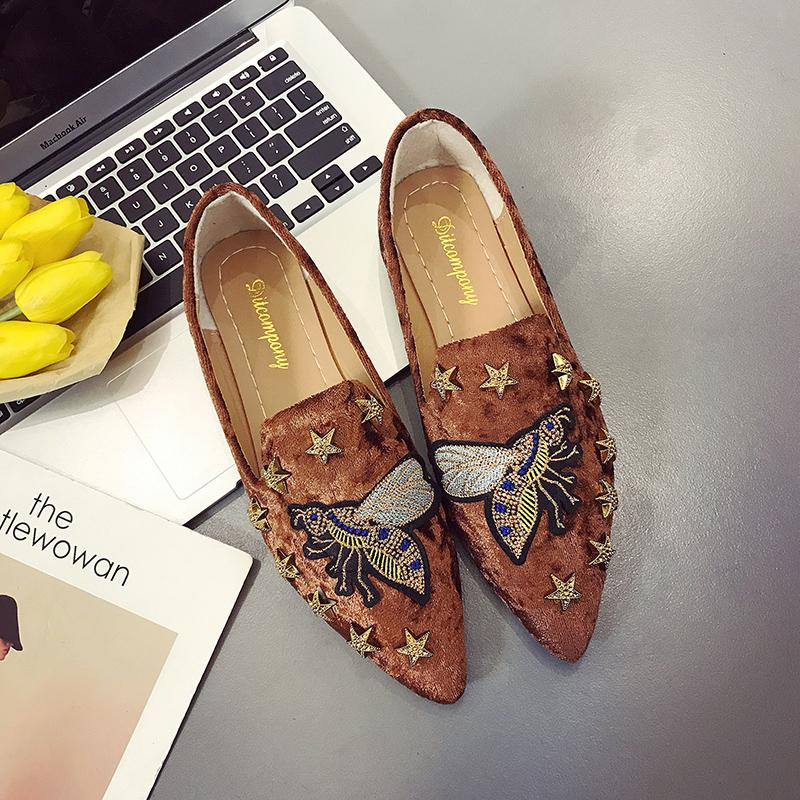 Women Flat Shoes Casual Slip On Single Cloth Shoes Lady Loafer Pointed Toe Fashion Plus Size Espadrilles Female Footwear new