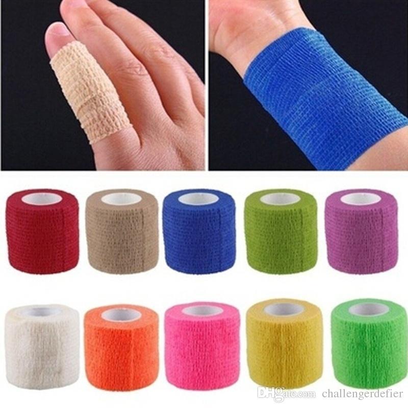 2021 Auto-adesivo ao ar livre Bandagem Elástica Primeiros Socorros Médicos Cuidados de Saúde Tratamento Fita de gaze para suporte de joelho Fixing Cotovelo de pulso 4.5cm * 5m
