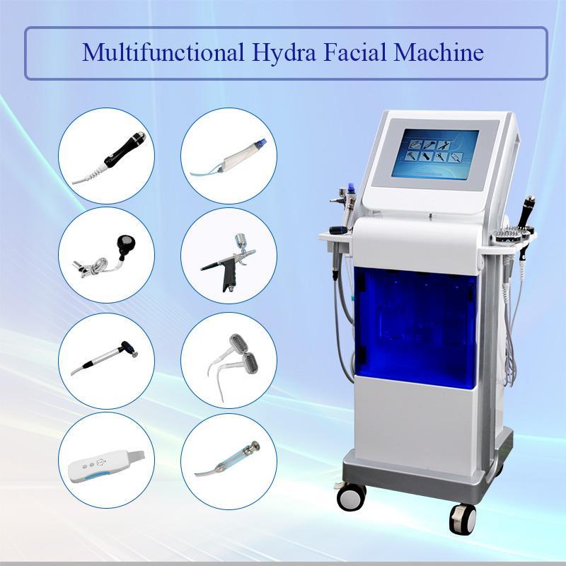 Vendita calda 9 IN 1hydrafacial macchina diamante dermoabrasione cura della pelle del viso spruzzo di ossigeno spa idro ringiovanimento della pelle trasporto libero