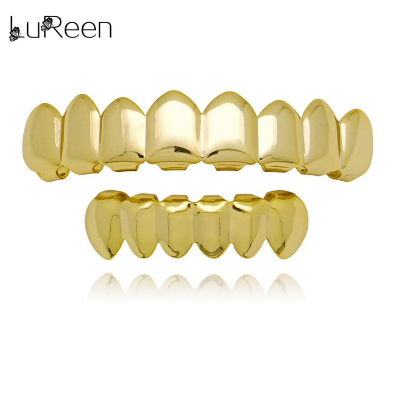LuReen Gold Denti Grillz Top Bottom Grills Dental Hiphop Denti Halloween Vampire Denti Caps Cosply Gioielli Corpo LD0041