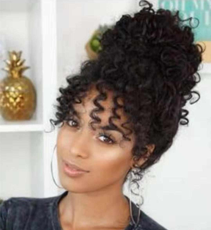 100 Menschen Frauen Haar Topper Tunnelzug Pferdeschwanz Haarteil verworrenen lockigen afro fringe bun Haarverlängerung 120g