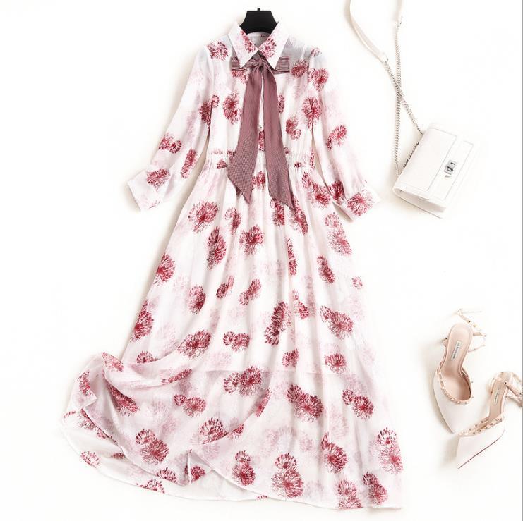 Платья новый европейский и американских женщин весной 2020 семь центов рукав бант воротник модный принт платье