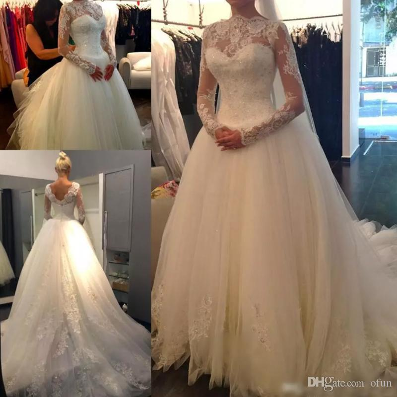 긴 소매 높은 목 레이스 아플리케 법원 기차 신부 가운을 가진 2019 년 빈티지 긴 웨딩 드레스