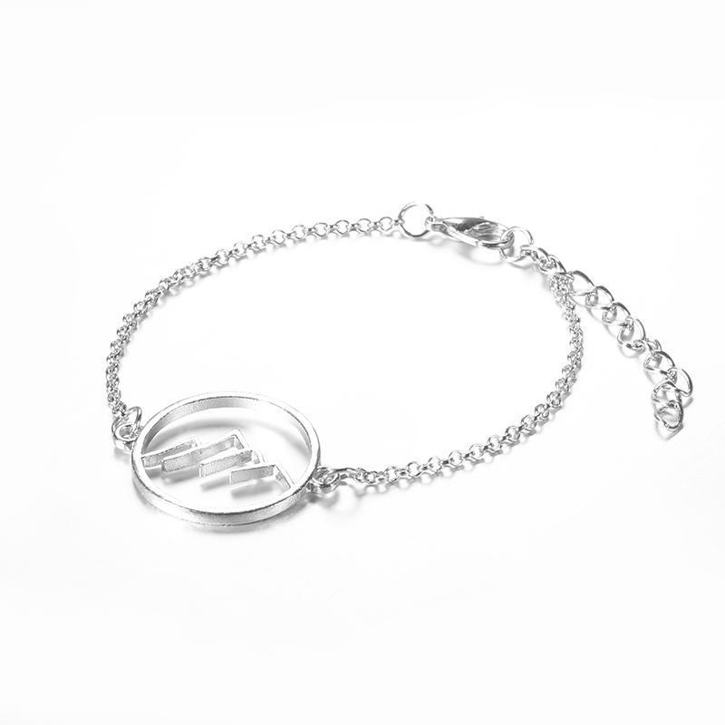 Мода-4 шт./компл. Богемия геометрия узор круг полый зеленый кристалл звено цепи браслеты набор для женщин серебро многослойные манжеты браслет
