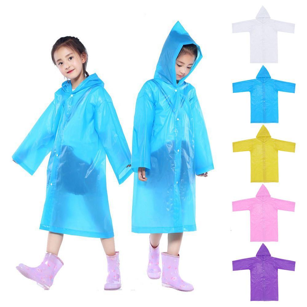 2019 New Waterproof Kids Portable Reusable Raincoats Children 6-12 Years Old Rain Ponchos Coat Rainwear Rainsuit Poncho PP3