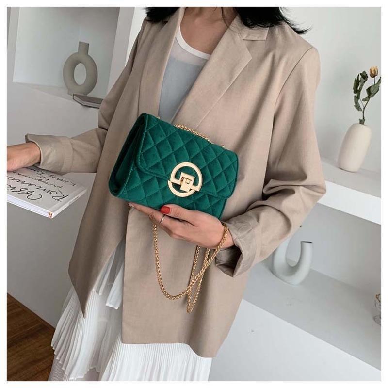 di spalla delle signore piccola piazza sacchetto di velluto 2020 portafoglio telefonino verde messenger bag catena tendenza rombo