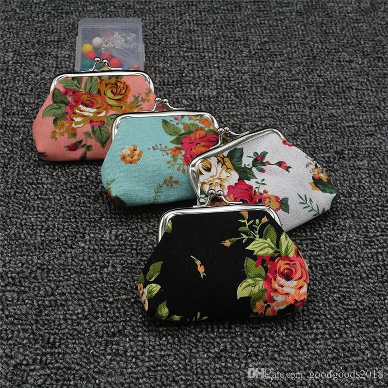 Moda Sıcak Vintage çiçek sikke çanta tuval anahtarlık cüzdan çile küçük hediyeler çanta debriyaj çanta ST311