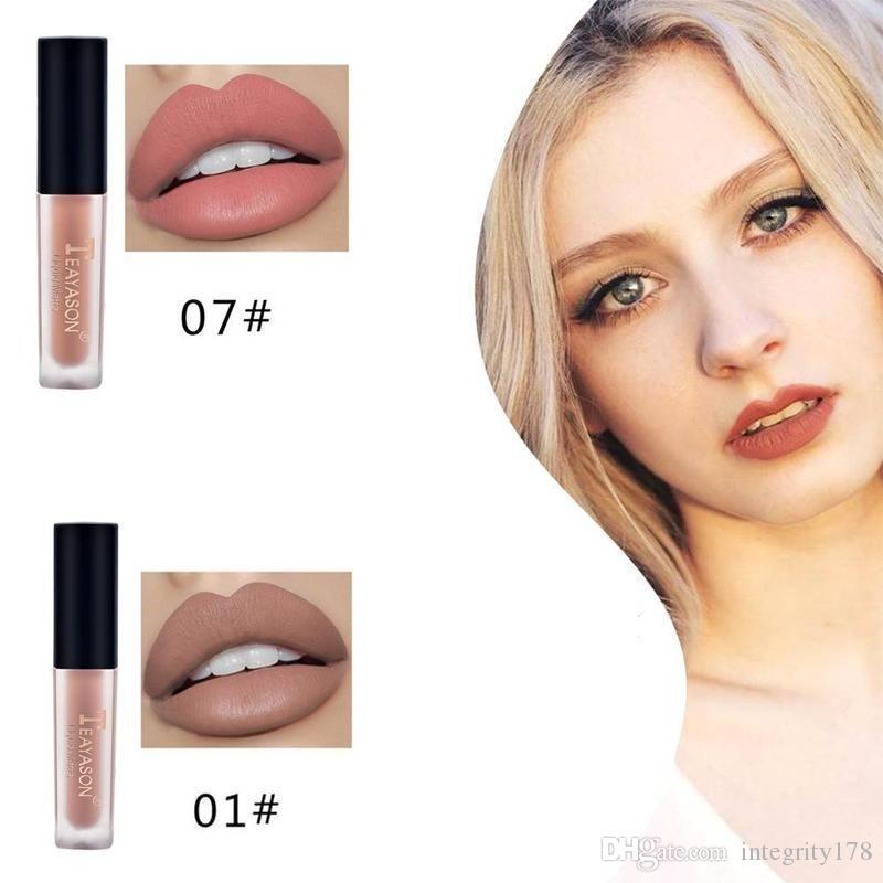 TEAYASON 12 couleurs Nude Matte Lip Gloss étanche et l'humidité velours liquide rouge à lèvres lèvres cosmétiques de longue durée Stick Lèvres Crème