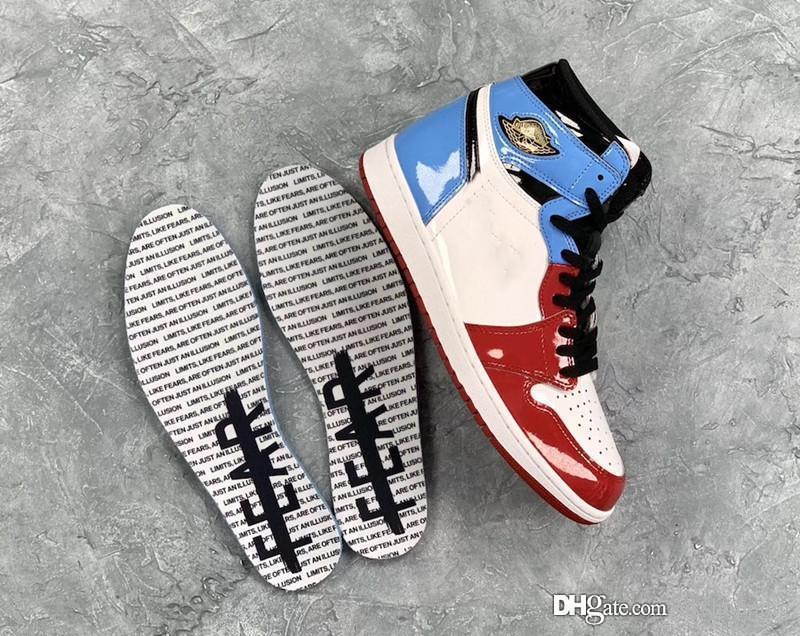 2019 новый релиз аутентичный 1 Высокий OG бесстрашный университет синий-Университетский красно-черный 1S Мужчины Женщины баскетбольная обувь спортивные кроссовки с коробкой