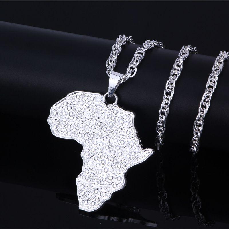Hip Hop Takı Afrika Harita Kolye Kolye Kadınlar Erkekler Için Renk Altın Takı Afrika Haritalar Mücevherat Hediyeler Erkek Kolyeler