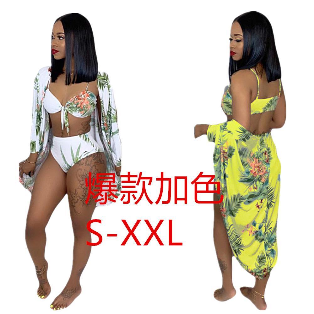 2019 mujeres africanas verano follaje patrón playa x larga capa arco sujetador y bragas conjunto de tres piezas traje de baño de playa conjunto sportswea