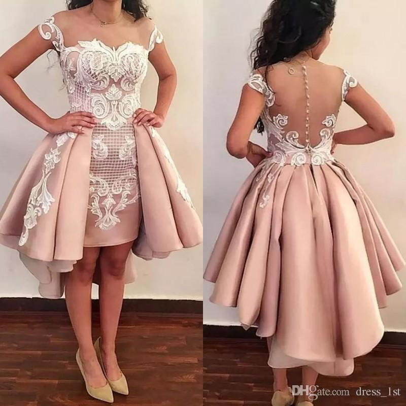2019 새로운 패턴 블러쉬 핑크 짧은 댄스 파티 드레스 오버 스커트 쉬어 넥 환상 뒤로 아이보리 레이스 Appliqued Overskirt 칵테일 파티 드레스