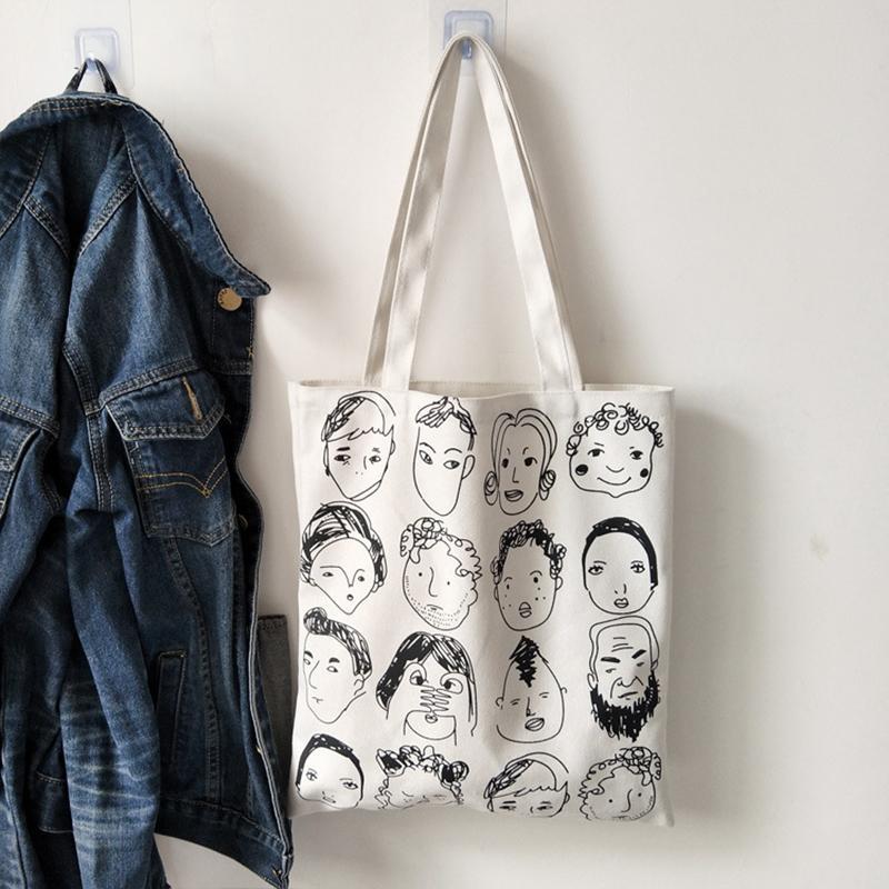Fashion Lady Canvas Shoulder Bag Foldable Summer Holiday Tote Shopping Handbag