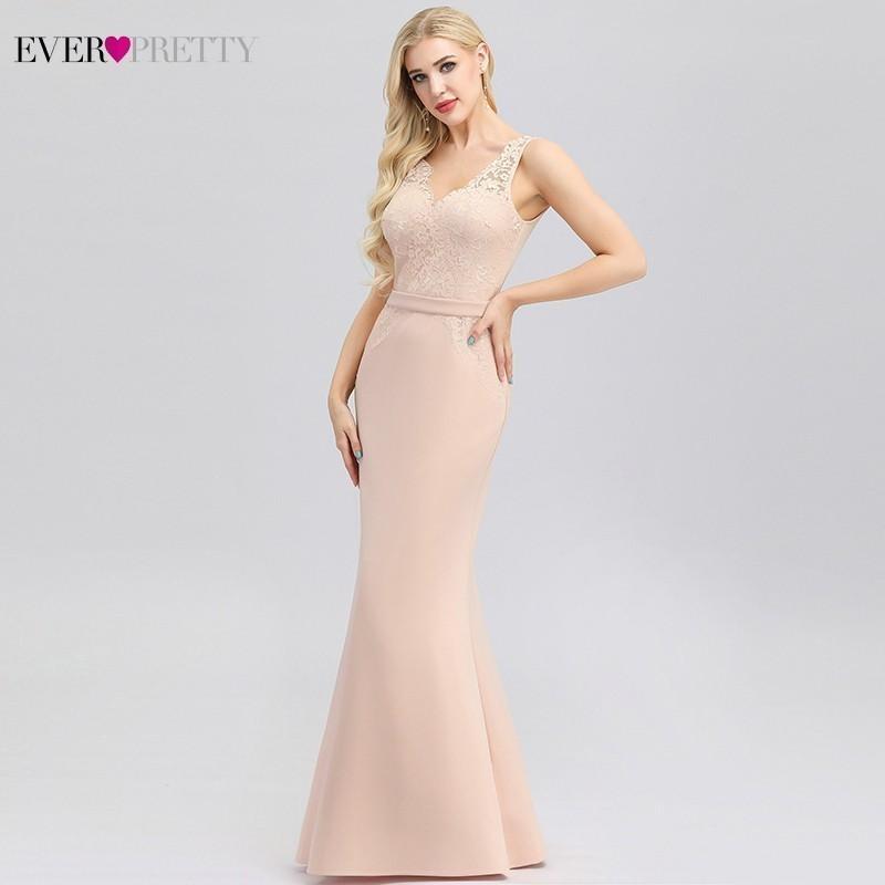Überhaupt recht rosa Meerjungfrau Abendkleider mit V-Ausschnitt ärmellos Stickerei-elegante Spitze-Abend-Partei-Kleid-Robe Longue 2019 Dentelle