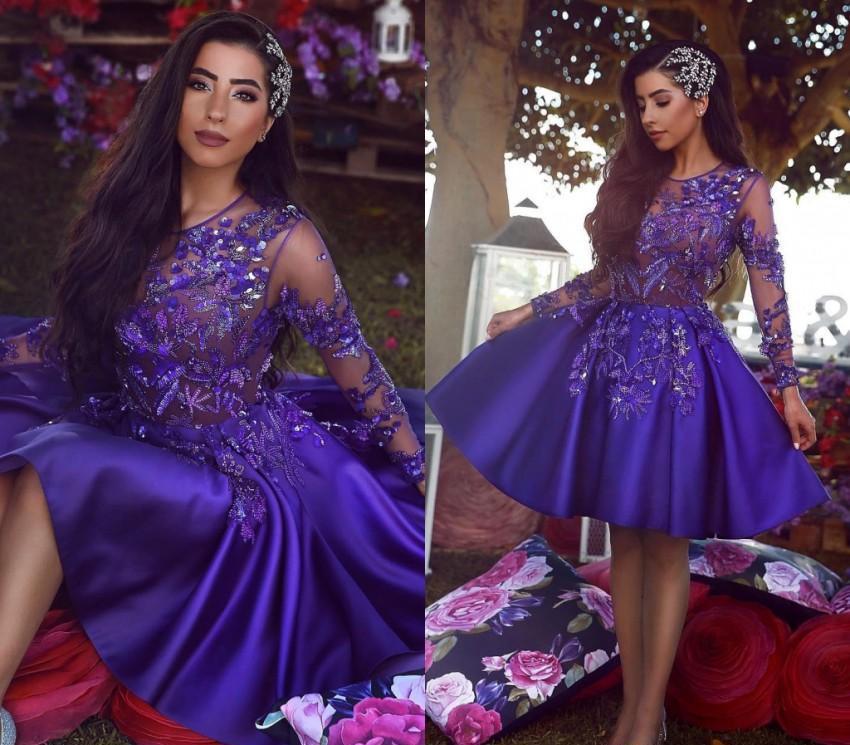 Abiti arabi sauditi Abiti da casa 2019 Dark Purple A Line Ginocchio Lunghezza Buniors Sweet 16 Graduation Cocktail Party Gowns Plus Size su misura