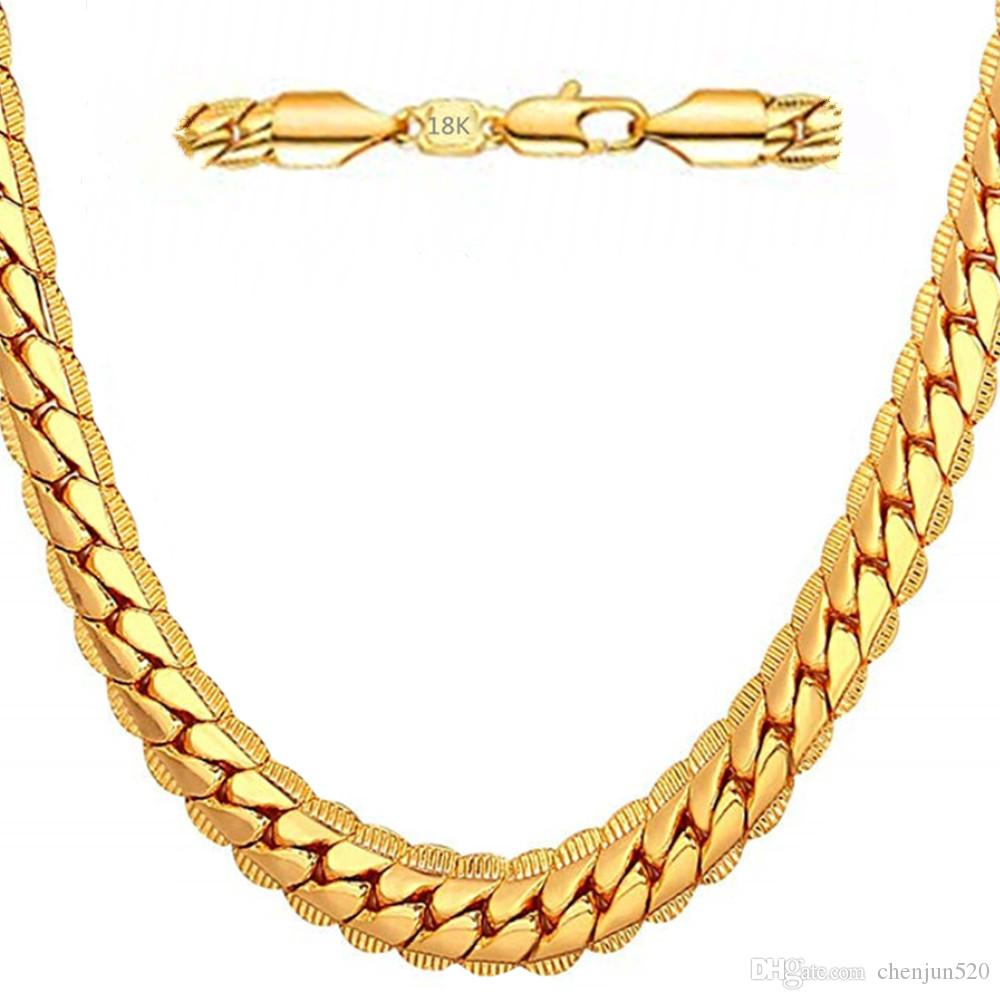 18K Luxury Mens Gold Necklace 6mm Snake Chain Necklace Hip Hop Jewelry For Men