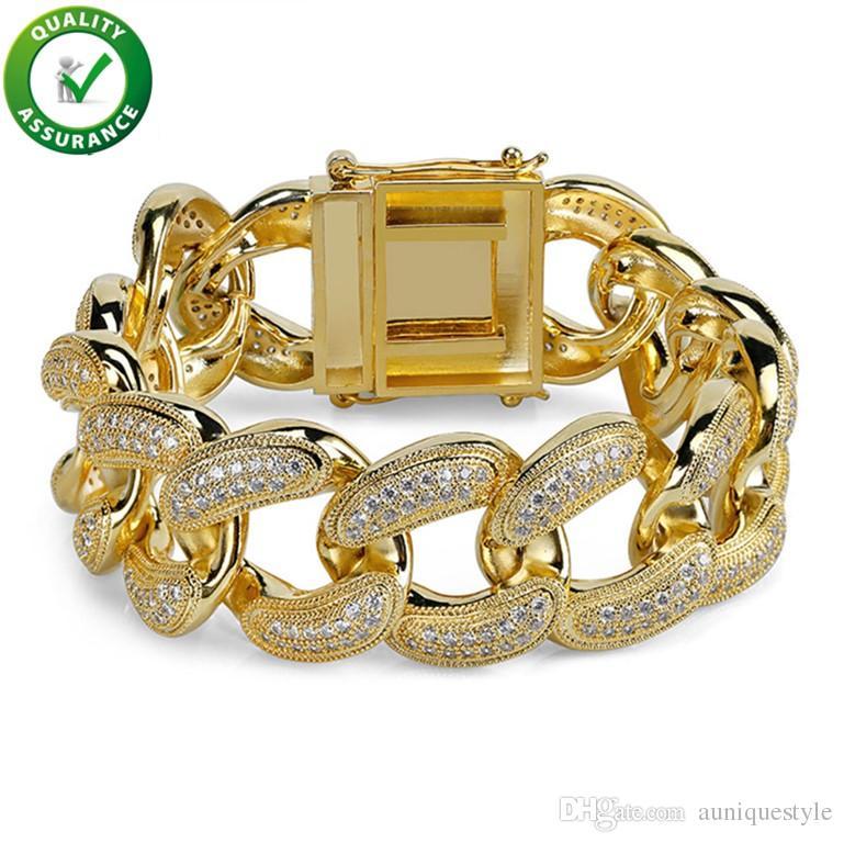 Mens Gold Bracelets Luxury Charm Bangles Gold Plated Hip Hop Designer Jewelry Iced Out CZ Diamond Miami Cuban Link Chain Bracelet for Men