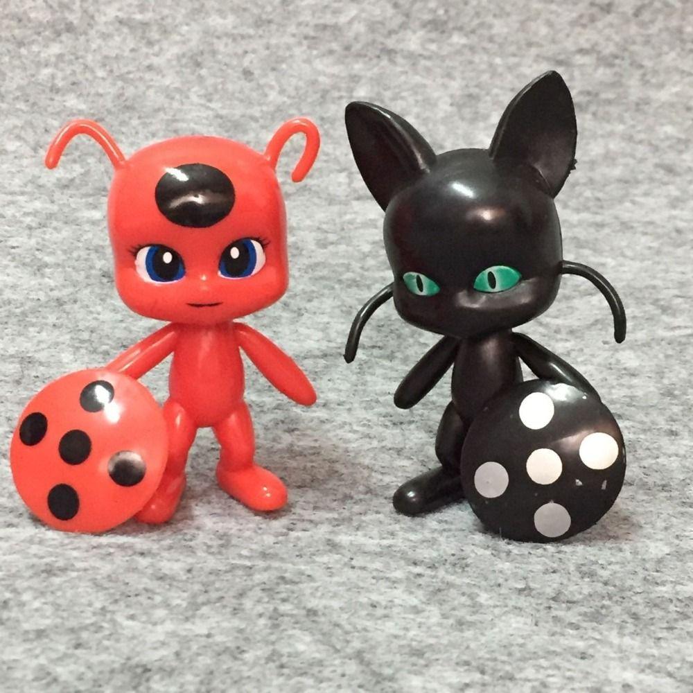 6Pcs Miraculous Ladybug Tikki Noir Katze plagg Adrien Figuren Puppe Spielzeug