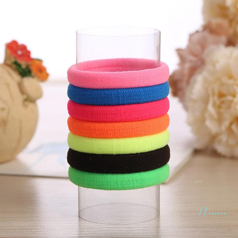 Solid candy Ponytail Hair band Scrunchies Elastic Colorful Hair ring Bands rainbow Hair Ties Ropes Bracelets for Women Girls gift hot E21701