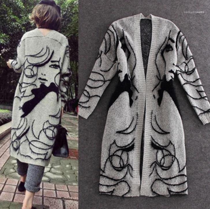 Impresso Longo Coats Cabo Mulheres grossa camisola Cardigans Autumn Grey Moda Pretty Girl