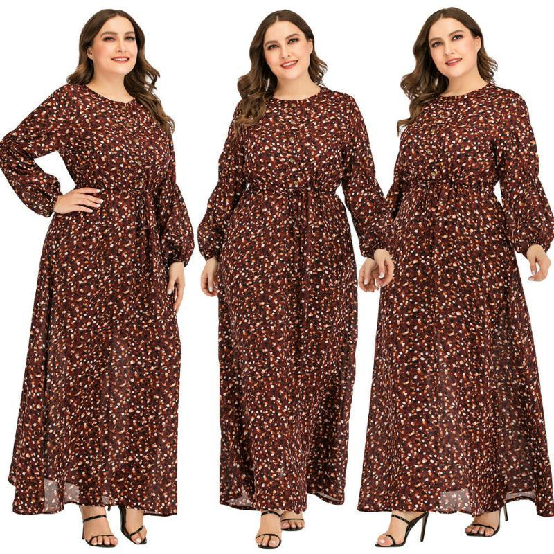 Women Floral Printed Abaya Vintage Muslim Maxi Cocktail Dress Robe Kaftan Jilbab
