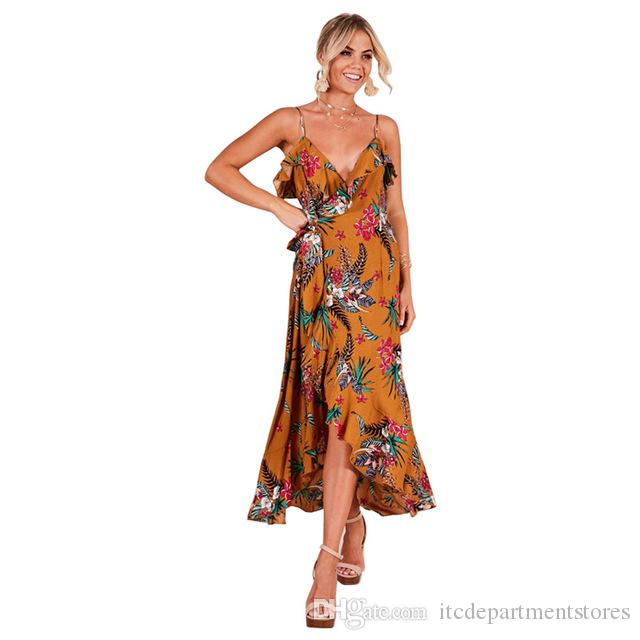 2019 Mujeres Verano Imprimir Bohemian Beach Vestidos Sexy Fiesta noche Elegante Moda Amarillo Midi Vestido