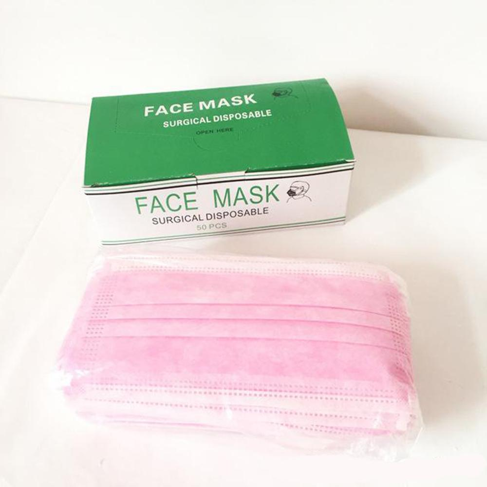 Máscaras rosa descartável Máscara Facial Máscaras Mascherine Meltblown Non Woven Três camadas anti-poeira impermeável navio respirável rápido