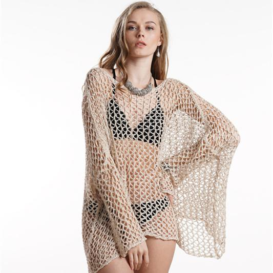 2019 Mujeres de punto de verano Nuevo tamaño grande mano gancho blusa costura Bikini playa protector solar camisa traje de baño traje de baño
