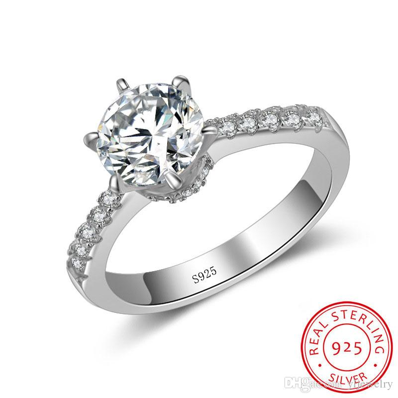 Don't Fade Six Claws Simulation Ring for Women Real 925 Sterling Silver 2 Carat CZ Diamant Wedding Rings Wholesale XR051