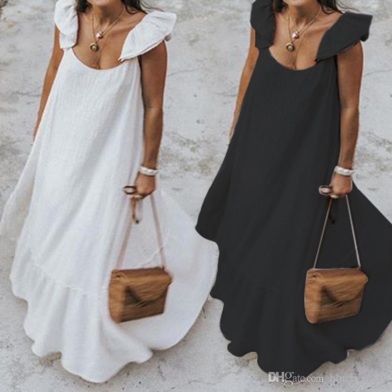 여자 드레스 2020 여름 프릴 sundress에 여성 보헤미안 솔리드 맥시 드레스 캐주얼 느슨한 여성 민소매 로브 긴 Vestidos 플러스 사이즈