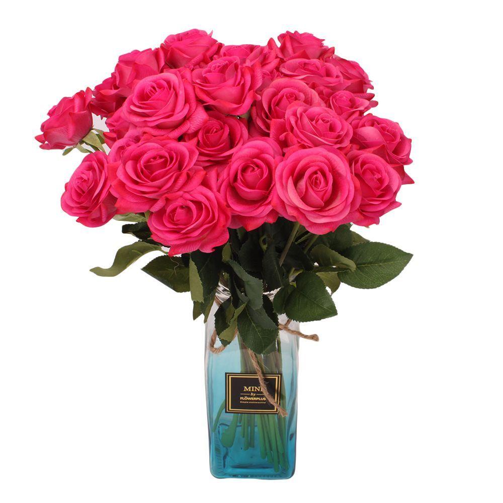 Новая роза цветок розовый / синий / черный / красный / желтый / фиолетовый ПУ розы искусственная роза 45 см для свадьбы декоративные цветы оптовая цена