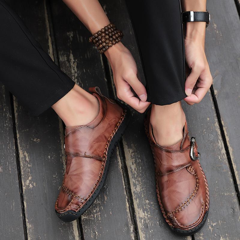 Zapatos nuevos hombres cómodos de los zapatos ocasionales de los holgazanes de los hombres de cuero de la calidad del hombre caliente de la venta Pisos Mocasines Tamaño 38-48