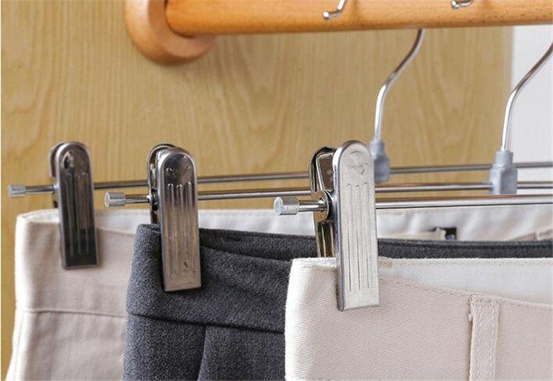 Hot Housekeeping Organização Cabides Para Roupas de Aço Inoxidável Clipe Stand Hanger Calças Saia Kid Roupas Ajustável Aperto Aperto