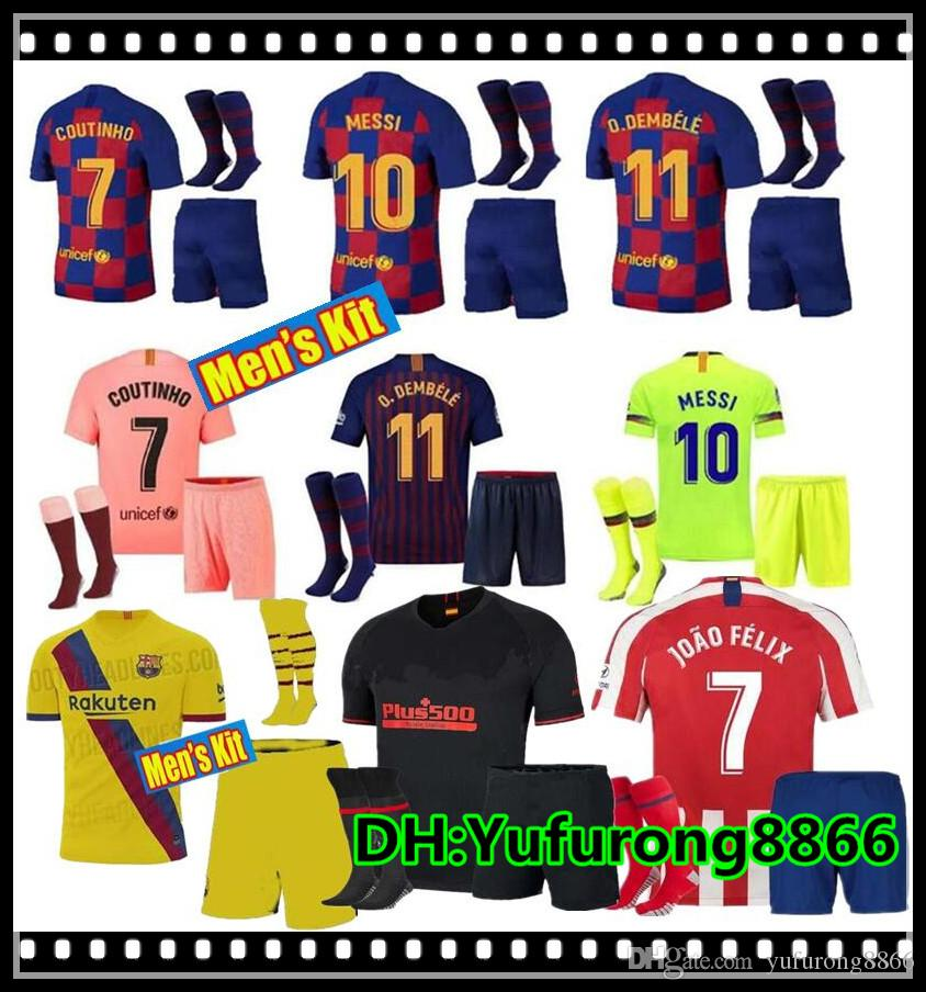 18 19 10 Kit ADULTE Messi Barcelone Soccer Jersey 2019 kits Hommes 8 Iniesta 9 Suárez 26 MALCOM 11 uniformes 7 Dembele Coutinho football chemises