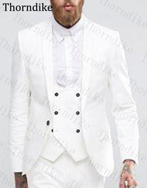 Thorndike Terno do casamento branco xaile lapela Homens Custom Made 3 Pieces Set partido negócio Terno vestir para homens sólido ternos Slim Fit