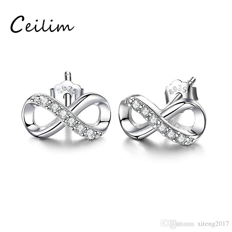 Infinite U Set of 2 Cubic Zirconia Round Black Stud Earrings in 925 Sterling Silver