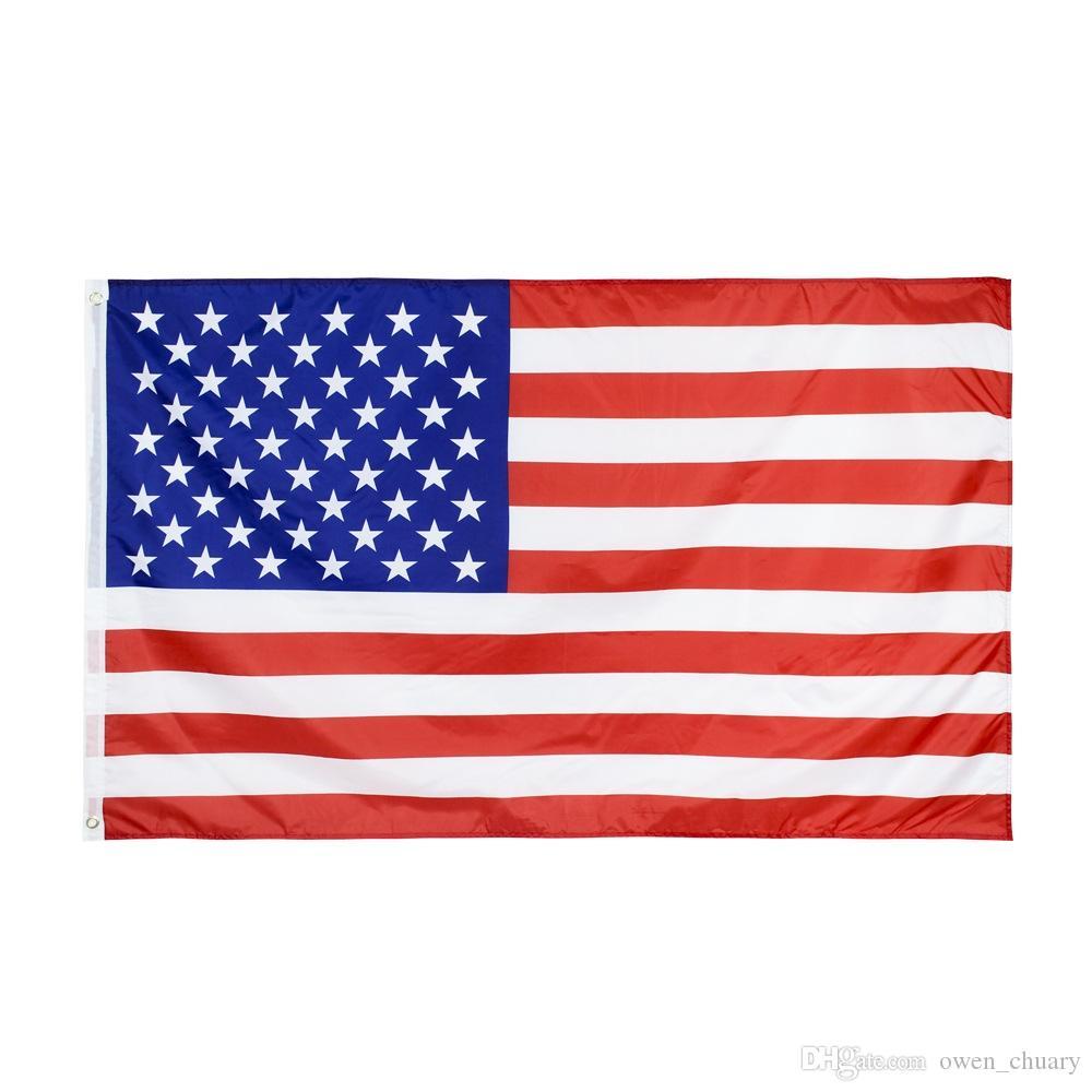 Doppia Sewned Trasporto libero nelle azione 3x5ft 90x150cm poliestere USA Flag di alta qualità Colore brillante bandiera americana Grande con occhielli manica
