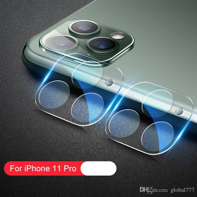 تغطية كاملة ثلاثية الأبعاد إتش دي واضحة شفافة مقاومة للخدش عدسة الكاميرا الخلفية واقية الزجاج مع دائرة فلاش ل iPhone 11 Pro Max