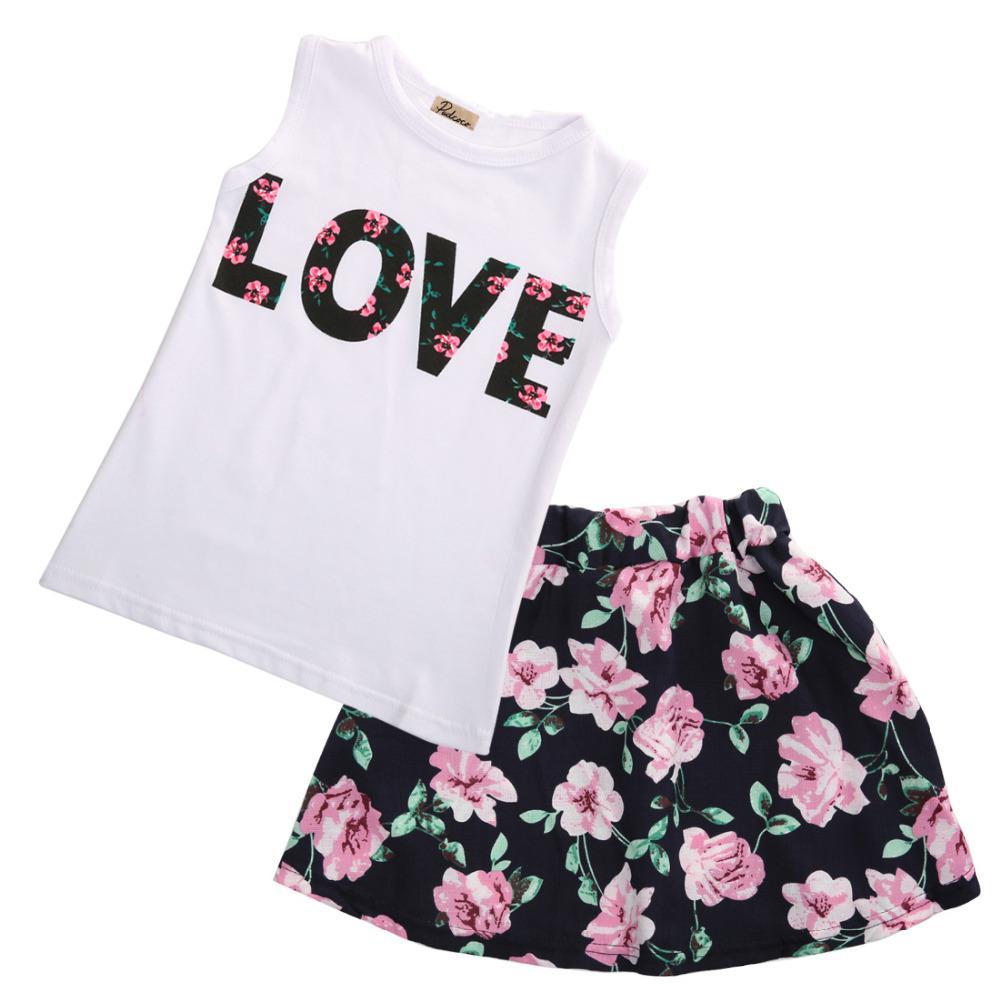 2PCS Infant Kids Baby Girls Dot Sleeveless Shirt Floral Skirt Outfit Set Clothes