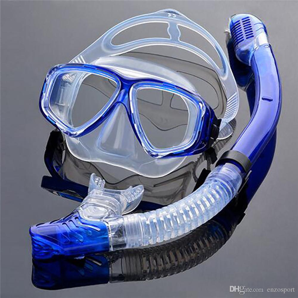 Buceo óptica Kit del engranaje de la miopía conjunto del tubo respirador, fuerza diferente para cada ojo, máscara corto de vista del equipo de submarinismo
